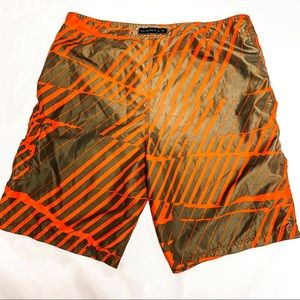 Oakley Orange/Green Board Shorts, Size 38. NWOT